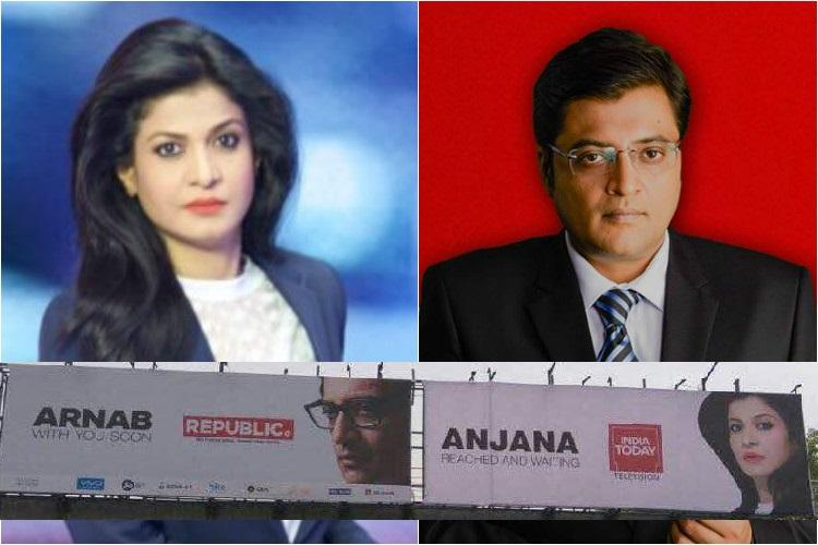 Billboard Wars Between Arnab and Anjana, and the latter gets Trolled on Twitter!