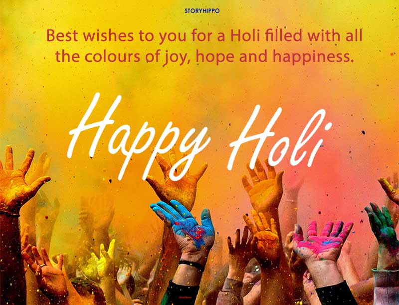 hands with color holi wish