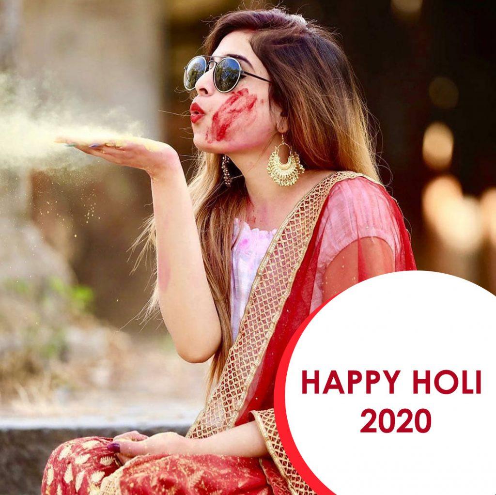 beautiful Indian girl celebration holi