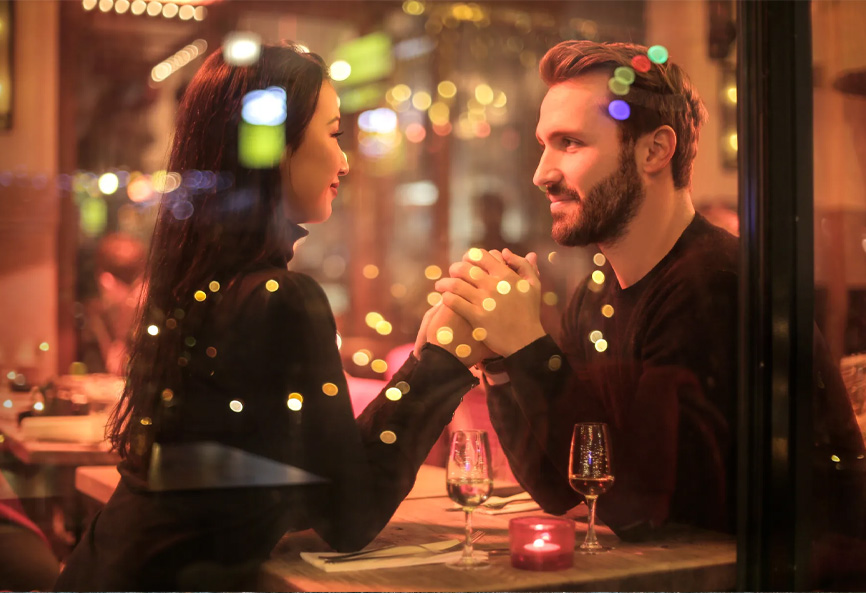 romantic couple celebrate anniversary