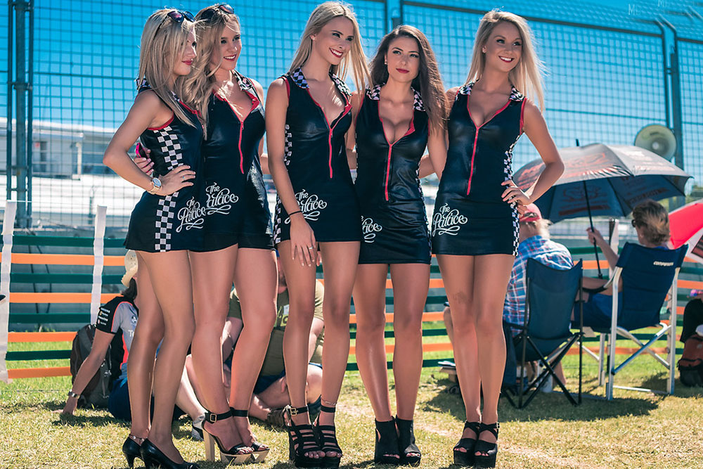 promotional models in short dress at an event