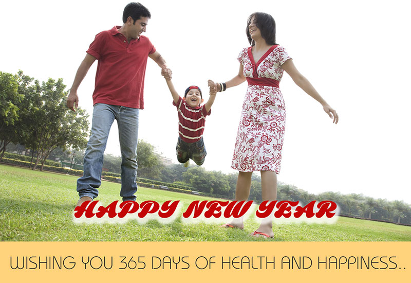 playful family wish new year