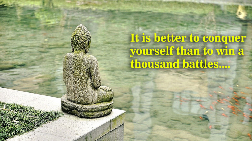 It is better to conquer yourself than to win a thousand battles yoga quote caption Instagram